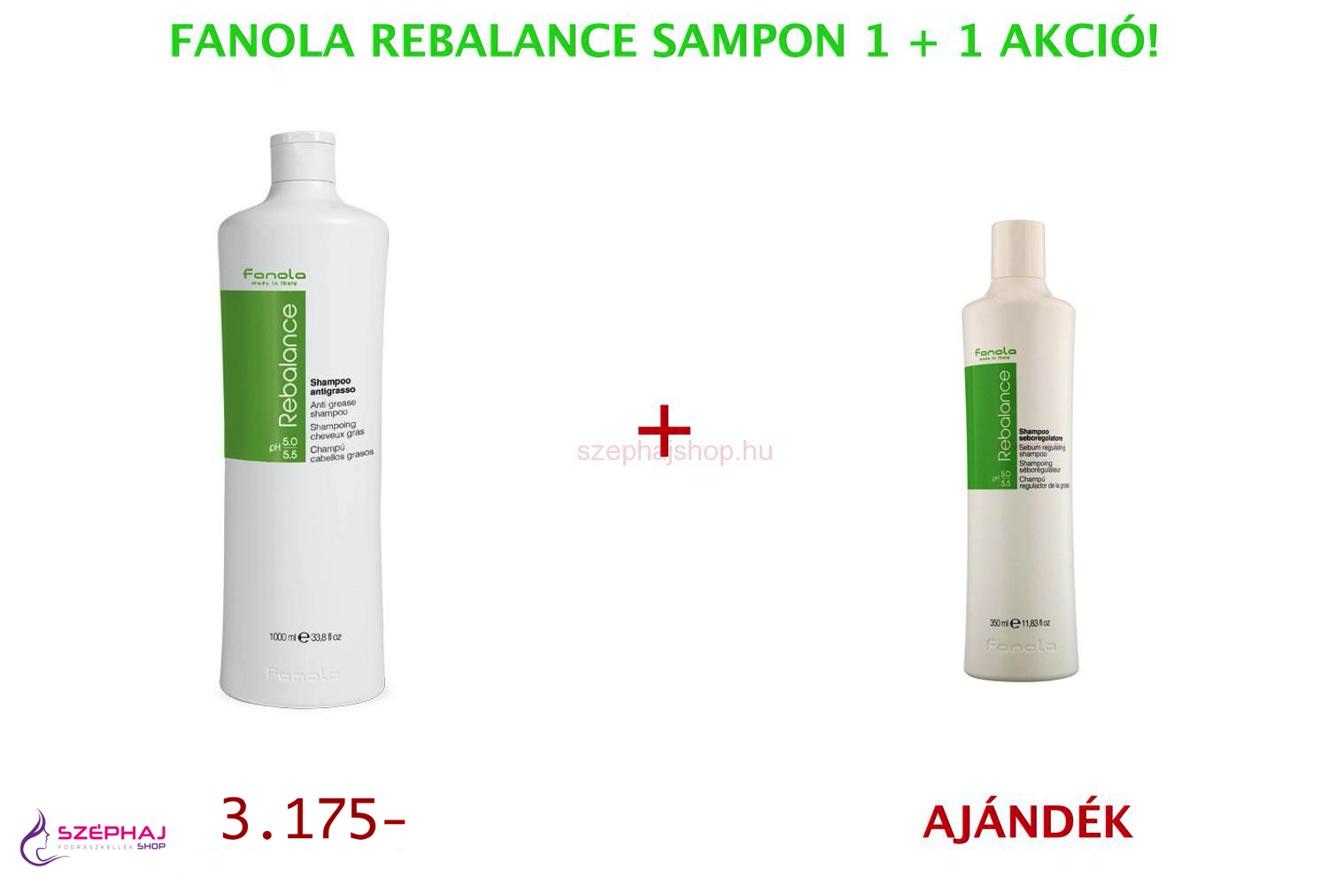 FANOLA Rebalance Anti Grease Shampoo 1000 ml 1+1 AKCIÓ
