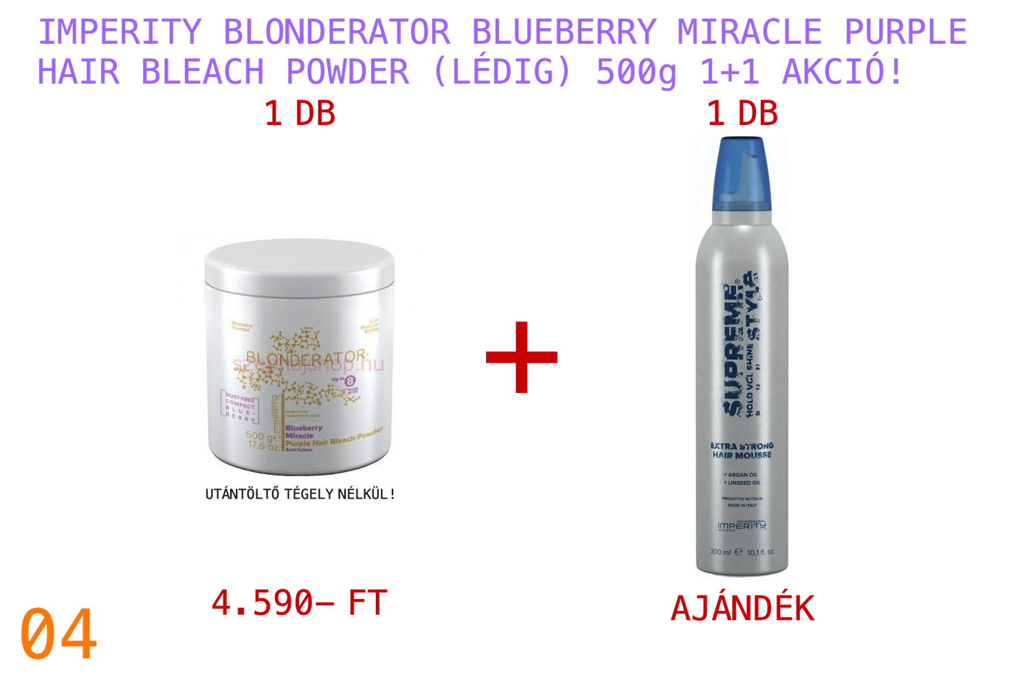 IMPERITY Blonderator Blueberry Miracle Purple Hair Bleach Powder 500 g 1+1 AKCIÓ