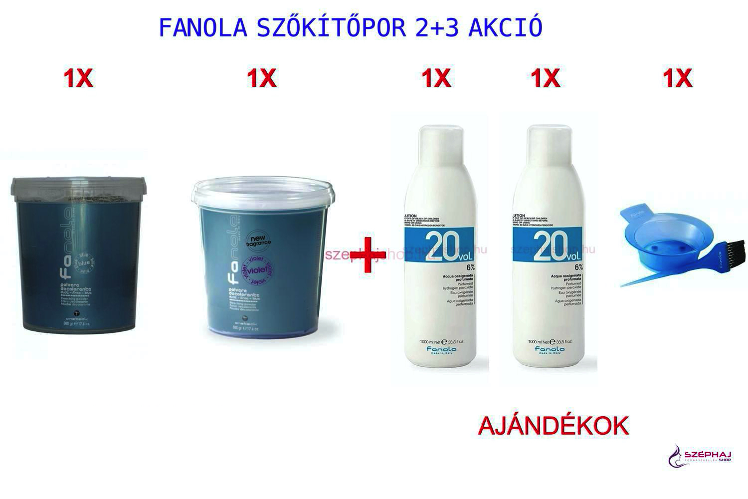 FANOLA Bleach Powder Blue 500 g + FANOLA Bleach Powder Ultra Violet 500 g AKCIÓ